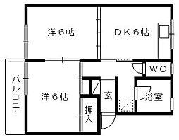 コーポ神谷I[2階]の間取り