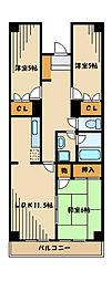 アビンズ相模大野[2階]の間取り