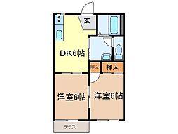 静岡県富士宮市大岩の賃貸アパートの間取り
