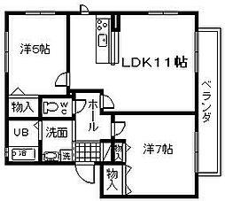 永野ハイツ A棟[105号室]の間取り