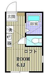 横浜市営地下鉄ブルーライン 三ツ沢上町駅 徒歩19分の賃貸アパート 2階ワンルームの間取り