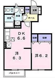 JR土讃線 金蔵寺駅 3.2kmの賃貸アパート 1階1LDKの間取り