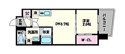 セレニテ谷九プリエ 12階1DKの間取り