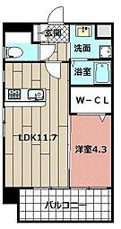 malvarosa 4階1LDKの間取り