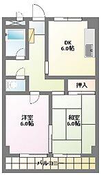 めぞん平成[2階]の間取り