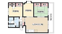 愛知県名古屋市瑞穂区彌富町字上山の賃貸マンションの間取り