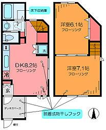 つくばエクスプレス 六町駅 徒歩9分の賃貸テラスハウス 1階2DKの間取り