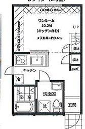 PRIMA GARDEN 所沢壱番館 2階ワンルームの間取り