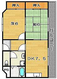 大阪府茨木市東奈良3丁目の賃貸マンションの間取り