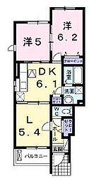広島県福山市新涯町3丁目の賃貸アパートの間取り