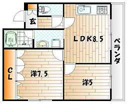サンフラワーハイツ[4階]の間取り
