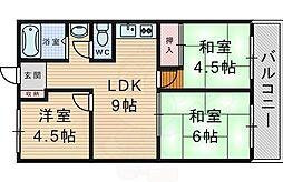ハイツ上野台A棟 2階3LDKの間取り