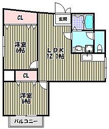 シャングリラ深井[3階]の間取り