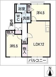 フラッツK.B棟[2階]の間取り