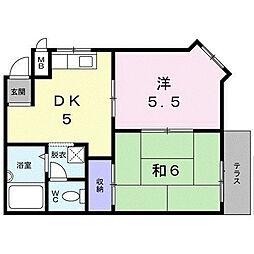 大阪府四條畷市江瀬美町の賃貸アパートの間取り