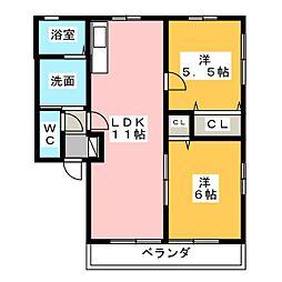 パティオA・B[2階]の間取り
