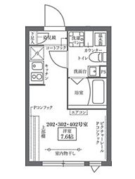 COCOCUBE KITA-SENJU 3階1Kの間取り