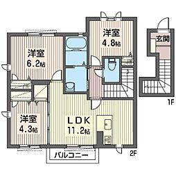 エースエレガンツB[2階]の間取り