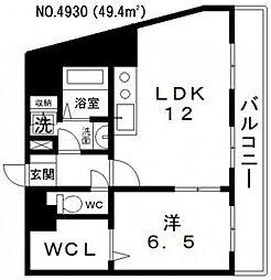 朝日プラザ天王寺東ピエ・タ・テール[802号室号室]の間取り