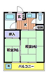 コーポヤジマ5号棟[2階]の間取り