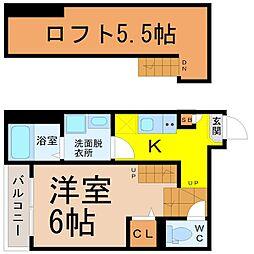 ハーモニーテラス畑江通 1階1Kの間取り
