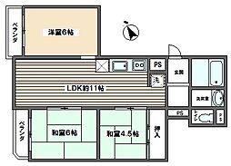 第三大谷マンション[5階]の間取り