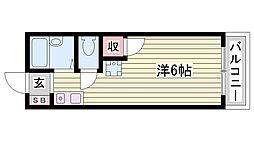 神鉄粟生線 緑が丘駅 徒歩10分の賃貸アパート 1階ワンルームの間取り