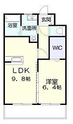 ラフィーネ桜館 2階1LDKの間取り