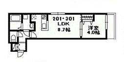フロイデ津田沼[201号室]の間取り
