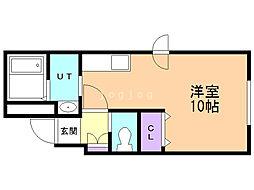 ルーヴェ2・13 2階ワンルームの間取り