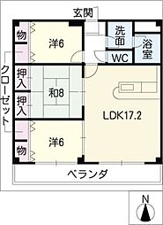 シェトワ六条[3階]の間取り