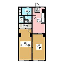 ドエル鹿野[2階]の間取り