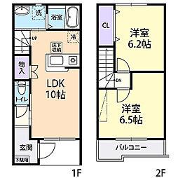 テラスハウス・令和・C棟 1階2LDKの間取り