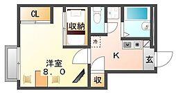 広島県福山市春日町3丁目の賃貸アパートの間取り