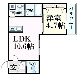 JR東海道・山陽本線 西宮駅 徒歩8分の賃貸マンション 1階1LDKの間取り
