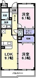大阪府堺市東区日置荘原寺町の賃貸マンションの間取り
