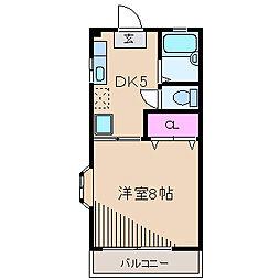 神奈川県川崎市中原区木月1丁目の賃貸マンションの間取り