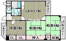 エクシオン平田[4階]の間取り
