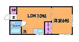東京都調布市緑ケ丘1丁目の賃貸アパートの間取り