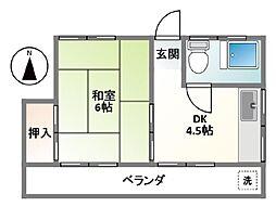 杉本荘[201号室]の間取り