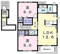 仮称)林アパート 2階2LDKの間取り