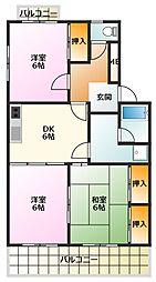 GREEN HOUSE TSURUTA[102号室]の間取り