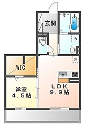 JR山陽本線 高島駅 徒歩13分の賃貸アパート 3階1LDKの間取り