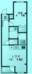 宿河原マンション[1階]の間取り
