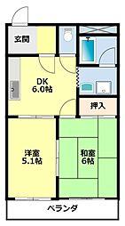 愛知県豊田市住吉町丸山丁目の賃貸アパートの間取り