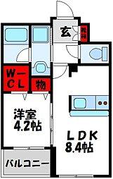 JR鹿児島本線 赤間駅 徒歩25分の賃貸マンション 3階1LDKの間取り