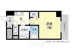 阪急京都本線 高槻市駅 徒歩14分の賃貸マンション 2階1Kの間取り
