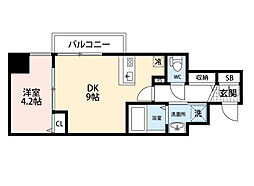 JR東海道・山陽本線 東淀川駅 徒歩2分の賃貸マンション 10階1DKの間取り