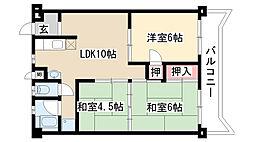 愛知県名古屋市緑区桃山4丁目の賃貸マンションの間取り