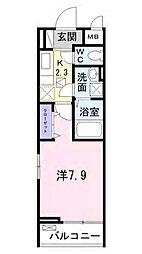 小田急小田原線 鶴川駅 徒歩11分の賃貸アパート 3階1Kの間取り